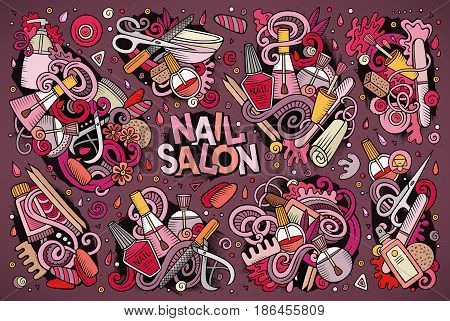 Vector hand drawn doodle cartoon set of Nail salon theme items, objects and symbols