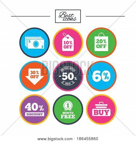 Sale discounts icon. Shopping cart, buying and cash money signs. 40, 50 and 60 percent off. Special offer symbols. Classic simple flat icons. Vector