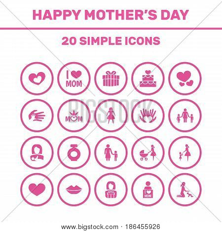 Mothers Day Icon Design Concept. Set Of 20 Such Elements As People, Mouth And Heart. Beautiful Symbols For Queen, Daughter And Ribbon.