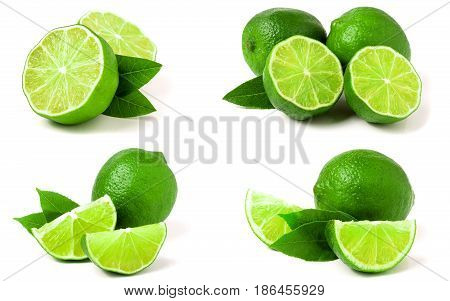 Lime with leaf isolated on white background. Set or collection.