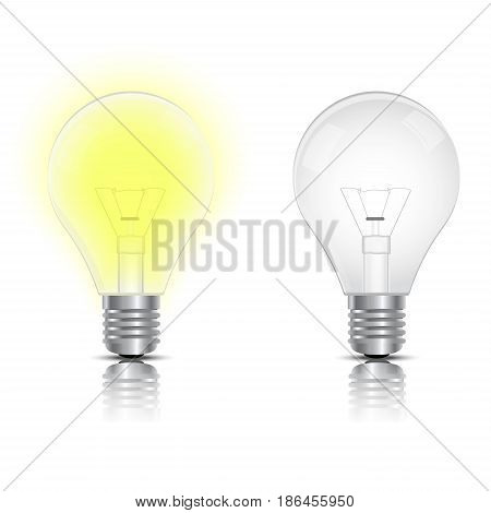 Creative light bulb isolated transparent vector realistic. Realistic bulb vector illustration