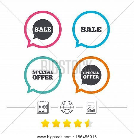 Sale icons. Special offer speech bubbles symbols. Shopping signs. Calendar, internet globe and report linear icons. Star vote ranking. Vector