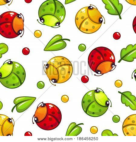 Cute seamless pattern with funny bugs and leaves on white background. Vector childish texture tile