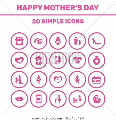 Mothers Day Icon Design Concept. Set Of 20 Such Elements As Daughter, Lady, Hands. Beautiful Symbols For Smartphone, Love And Heart.