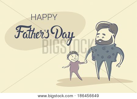 Happy Father Day Family Holiday, Man Dad Hold Son Hand Flat Vector Illustration
