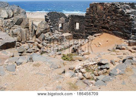 Ruins of Bushirbana gold mill smelter in Aruba.
