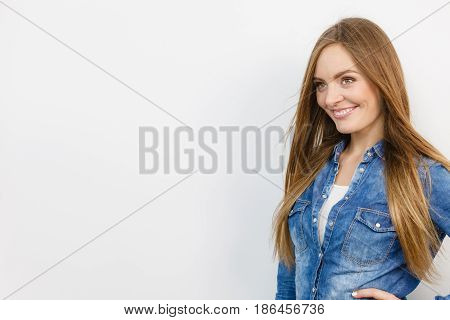Beautiful Smiling Girl With Denim Jacket.