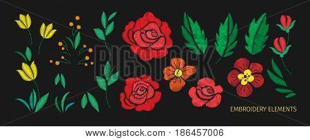 Vintage flower Elements for embroidery design Vector illustration