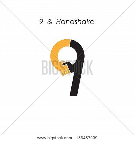 Creative 9- number icon abstract logo design vector template.Business offerpartnership icon.Corporate business and industrial logotype symbol.Vector illustration