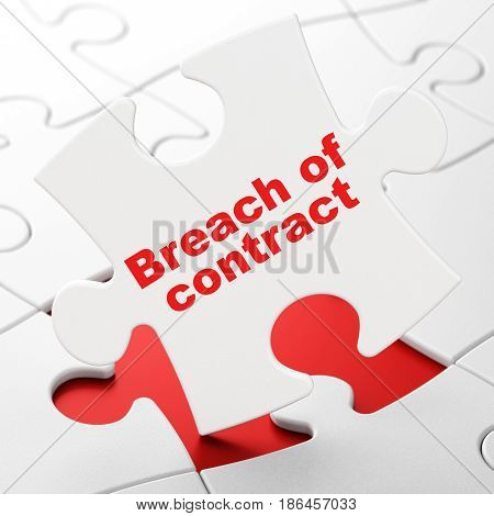 Law concept: Breach Of Contract on White puzzle pieces background, 3D rendering