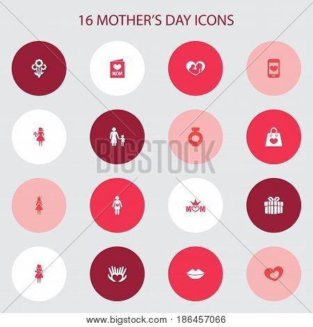 Mothers Day Icon Design Concept. Set Of 16 Such Elements As Mom, Palms And Queen. Beautiful Symbols For Princess, Soul And Bottle.