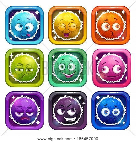 Funny cartoon colorful fluffy characters in the glossy frames. Vector app icons set.