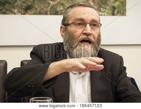 Moshe Gafni, Israeli politician of the Shas ultra-orthodox party, currently serving is the chairman of the Knesset Financial committee. Jerusalem, Israel, April 2016.
