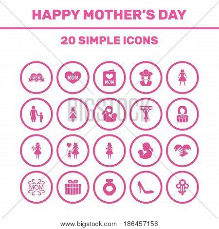 Mothers Day Icon Design Concept. Set Of 20 Such Elements As Placard, Hat And Woman. Beautiful Symbols For Text, Ribbon And Flower.