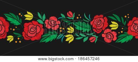 Vintage flower seamless border embroidery. Elements of clothing design. Vector illustration