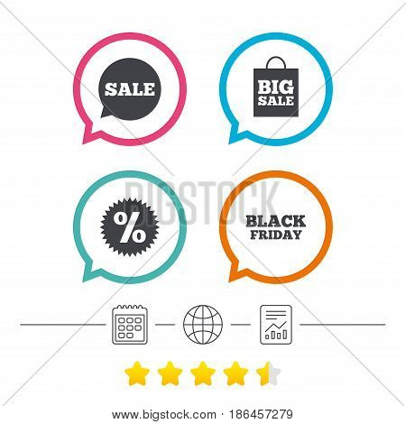 Sale speech bubble icon. Discount star symbol. Black friday sign. Big sale shopping bag. Calendar, internet globe and report linear icons. Star vote ranking. Vector