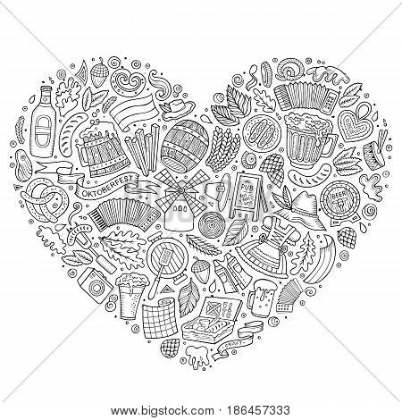 Sketchy vector hand drawn set of Oktoberfest cartoon doodle objects, symbols and items. Heart form composition