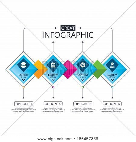 Infographic flowchart template. Business diagram with options. Sale speech bubble icon. Discount star symbol. Big sale shopping bag sign. First month free medal. Timeline steps. Vector