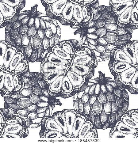 Tropical hand drawn illustration. Engraved botanical sketch. Exotic fruit seamless pattern.
