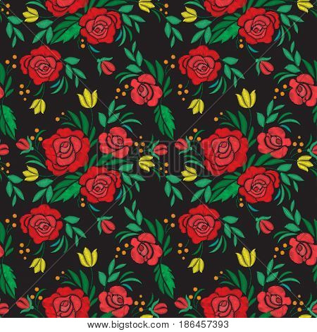 Vintage flower Seamless pattern embroidery. Elements of clothing design. Vector illustration