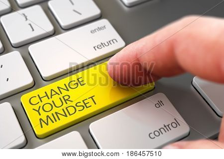Hand Pushing Yellow Change Your Mindset Modernized Keyboard Keypad. 3D Illustration.