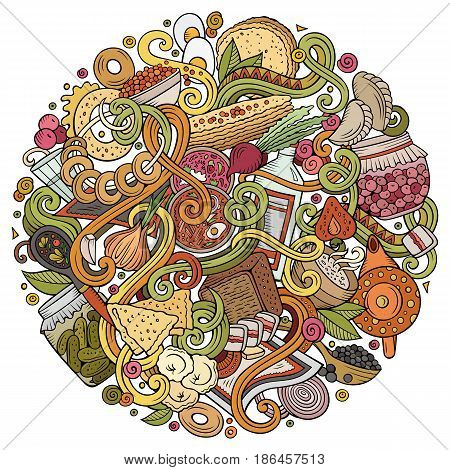 Cartoon cute doodles hand drawn Russian food illustration. Colorful detailed, with lots of objects background. Funny vector artwork. Bright colors picture with cuisine theme items