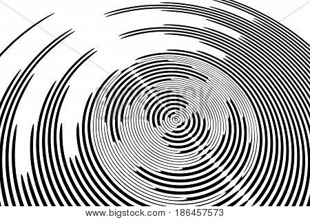 Circular rotation textured geometic background. Vector art.