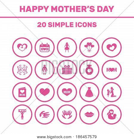 Mothers Day Icon Design Concept. Set Of 20 Such Elements As Palms, Relations And Placard. Beautiful Symbols For Newborn, Mother And Kiss.