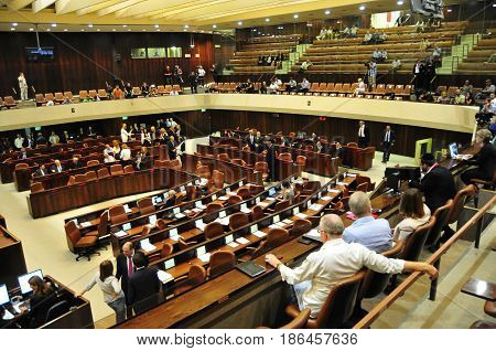 JERUSALEM, ISRAEL - June 10, 2014. Israeli Parliament Knesset plenary hall during the presidential elections. Reuven Rivlin to become a new president, Shimon Peres to step down. Knesset stock image.