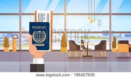 Hand Holding Passport Ticket Boarding Pass Travel Document Airport Background Flat Vector Illustration
