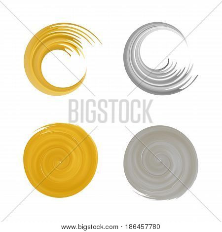Set of gold and silvel round element for design. Golden swirl logo. Silver brush stroke logo. Brush stroke swirls .