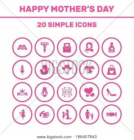 Mothers Day Icon Design Concept. Set Of 20 Such Elements As I Love Mom, Stiletto And Mom. Beautiful Symbols For Queen, I And Daughter.