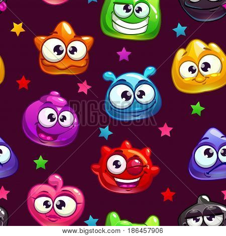 Seamless pattern with cute cartoon jelly characters, vector endless illustration