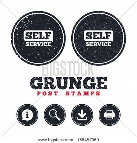 Grunge post stamps. Self service sign icon. Maintenance button. Information, download and printer signs. Aged texture web buttons. Vector