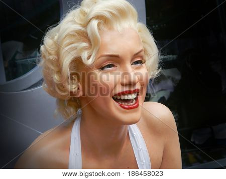 LOS ANGELES, NOV.14, 2014: Marilyn Monroe waxwork portrait at Los Angeles street. Merlin Monroe celebrity. Waxwork celebrities of Hollywood walk of. Famous stars. Young girl woman portrait