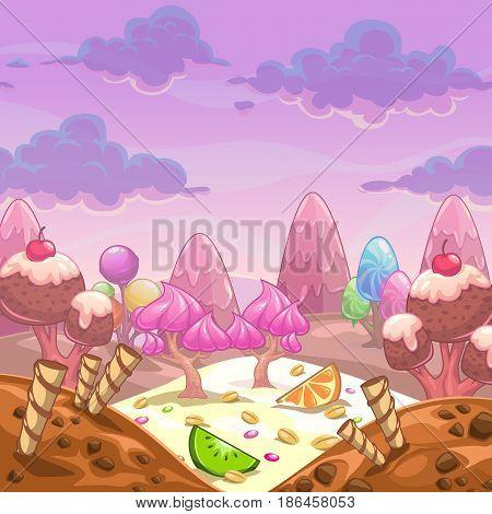 Cartoon vector sweet landscape. Fantasy background for game design.