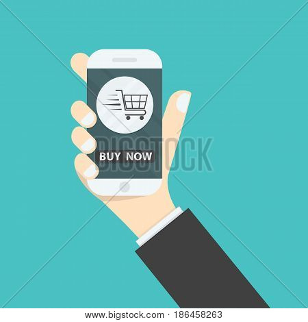 Businessman hand and online shopping website on smart phone.Online shopping application on smart phone.Advertising campaign symbol.Online shopping and e-commerce icon concept .Vector illustration