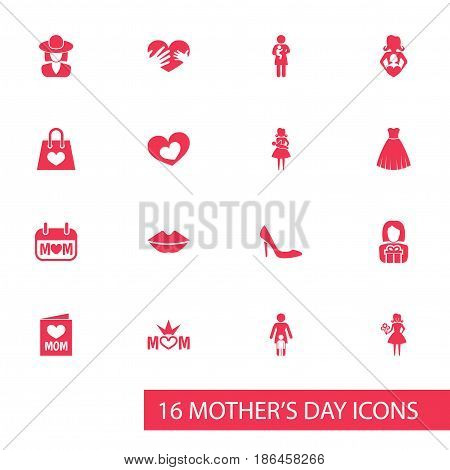 Mothers Day Icon Design Concept. Set Of 16 Such Elements As Evening Gown, Mouth And Newborn Baby. Beautiful Symbols For Mom, Heeled And Gown.