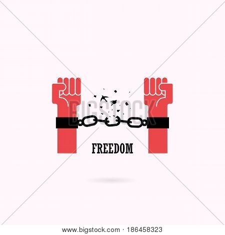 Human hands and broken chain with the bird symbols.Freedom concept.Vector illustration