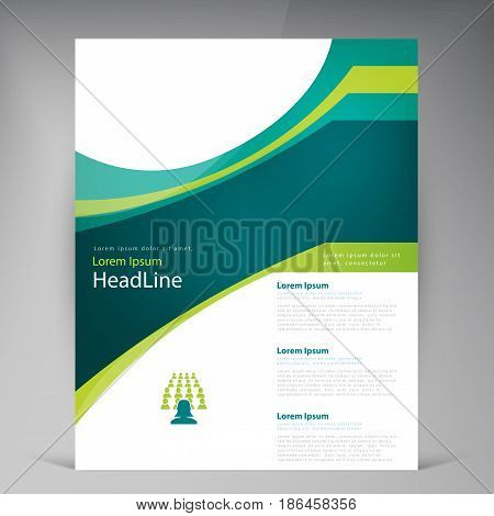 Vector abstract template design leaflet, flyer, poster, brochure, cover with turquoise and green multilayer stripes