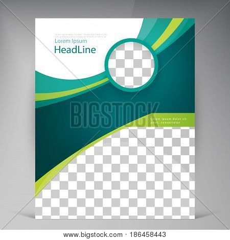 Vector abstract template design leaflet, flyer, poster, brochure, cover with turquoise and green multilayer stripes and round frame