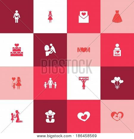 Mothers Day Icon Design Concept. Set Of 16 Such Elements As Shape, Infant And Queen. Beautiful Symbols For Balloon, Children And Infant.