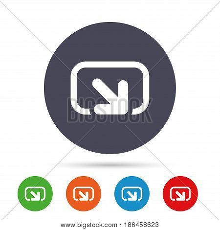Action sign icon. Share symbol. Round colourful buttons with flat icons. Vector