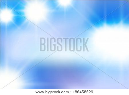Vector abstract background of white light beaming flashes, light elements on a blue sky