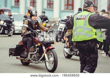 Biker And The Police