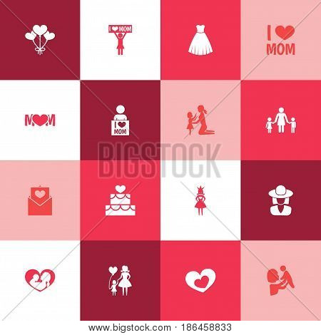 Mothers Day Icon Design Concept. Set Of 16 Such Elements As I Love Mom, Queen And Letter. Beautiful Symbols For Baby, Soul And Decoration.