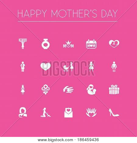 Mothers Day Icon Design Concept. Set Of 20 Such Elements As Flowers, Infant And Missus. Beautiful Symbols For Stiletto, Female And Envelope.