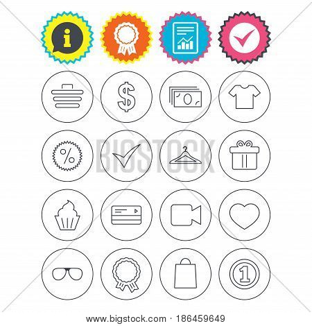 Report, information and award signs. Shopping icons. Shopping cart, dollar currency and cash money. Shirt clothes, gift box and hanger. Credit or debit card. Check tick symbol. Flat buttons. Vector