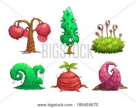 Fantasy tree set. Vector fantastic plants icons. Isolated on white background.