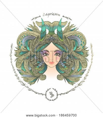 Zodiac sign. Hand drawn portrait of a beautiful woman. Vector illustration of Capricorn zodiac sign.